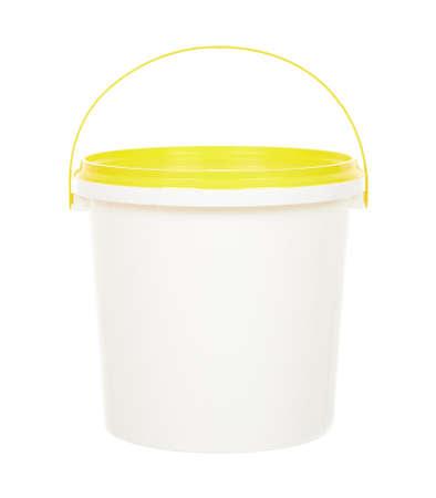 White paint bucket isolated on white