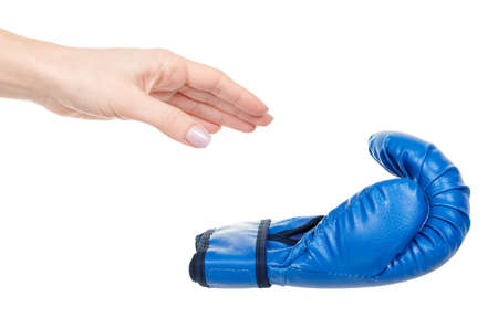 Hand with blue boxing gloves isolated on white