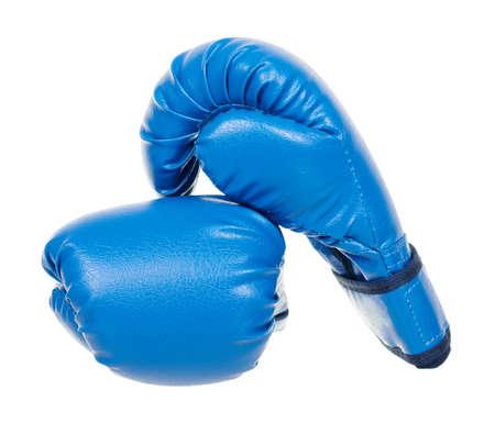 Blue boxing gloves isolated on white 版權商用圖片