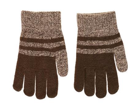 Brown child gloves isolated on white 版權商用圖片