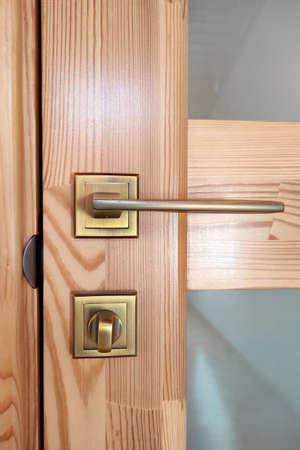 Wooden door with glass, handle. Zdjęcie Seryjne
