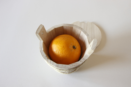 Orange in box photo