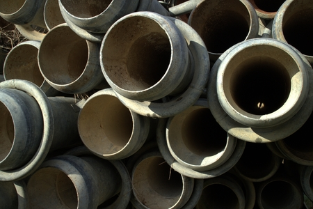 unsustainable: Irrigation pipes Stock Photo