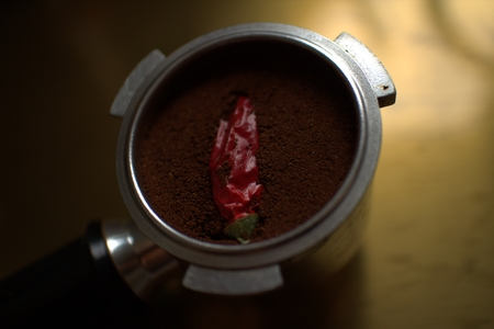full bodied: Coffee with chilly pepper