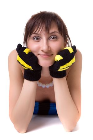 lie forward: Brown-haired woman in striped a scarf and gloves. Looks forward. Stock Photo