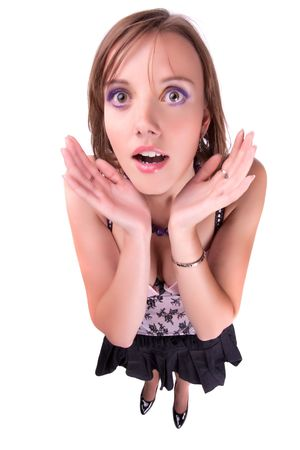 suprise: The surprised woman. fish-eye lens. Stock Photo