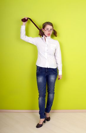 office slave: Girl is Strangling. On green background.