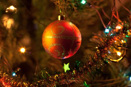 christmastree: Christmas-tree decorations. Close up. Selective focus. Stock Photo