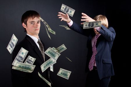 Business magic. On black background. photo