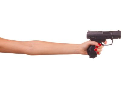 wrist hands: Womans hand with a gun. Isolated on white.