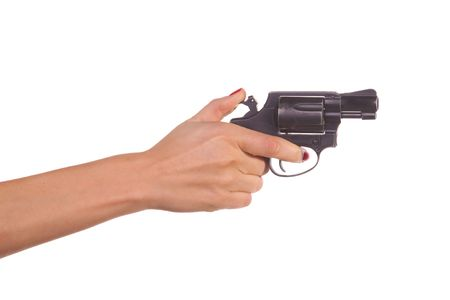 gun trigger: Womans hand with a gun. Isolated on white.