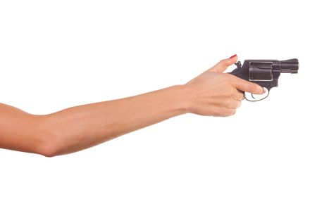 Woman's hand with a gun. Isolated on white. Stock Photo - 5992966