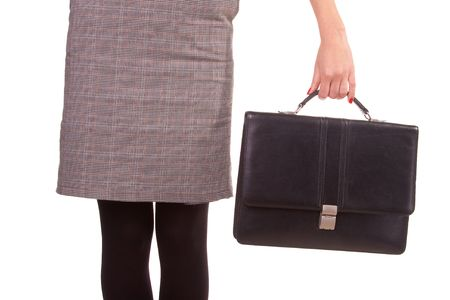 Woman and a black leather briefcase. Isolated on white. Stock Photo - 6063950