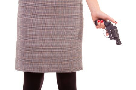 Woman and a gun. Close-up. Isolated on white. Stock Photo - 6063949
