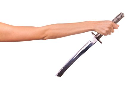 Woman hand and  sword. Isolated on white. Stock Photo - 6123530