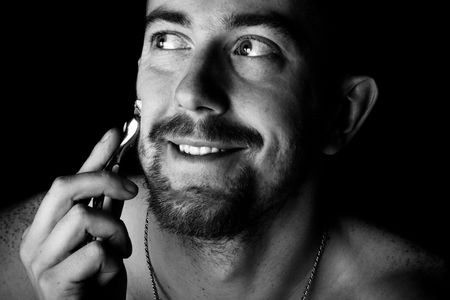 Men shaving faces. Close-up. Macro. photo