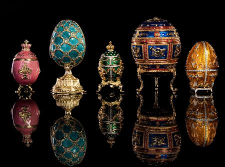 Group Faberge eggs. Isolated on black. Stock Photo - 6833349