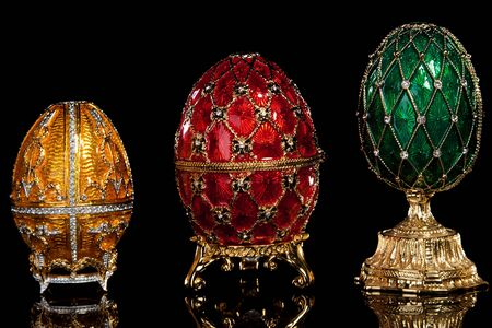 Group Faberge eggs. Isolated on black. Stock Photo - 6833348