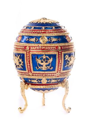 gold egg: Faberge egg. Isolated on white.
