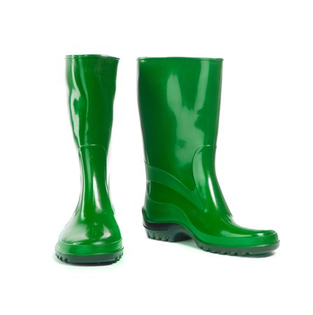 Gumboots. Isolated on white. Close-up. photo