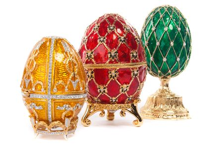 Faberge egg. Isolated on white. photo