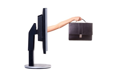 woman handle success: Computer monitor. Concept. Isolated on white.