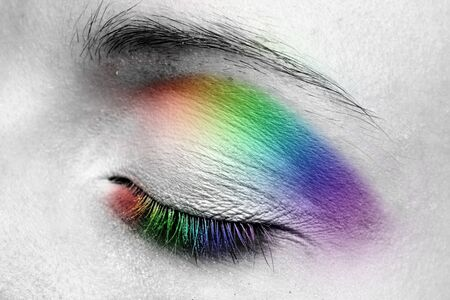 Woman eye. Closeup. Make up. Multicolored. photo