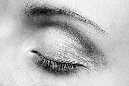 Woman eye. Closeup. Make up. BW photo. photo