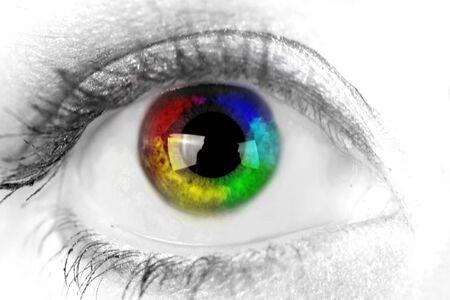 red eye: Woman eye. Closeup. Muticolored iris. Stock Photo