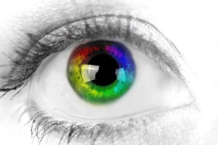 woman eyeball: Woman eye. Closeup. Muticolored iris. Stock Photo
