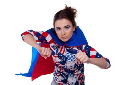 superwoman: Superwoman. Sobre fondo blanco. Retrato.  Foto de archivo