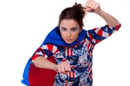 Superwoman. On white background. Portrait. Stock Photo - 7775470