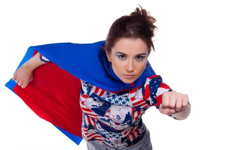 american hero: Superwoman. On white background. Portrait. Stock Photo