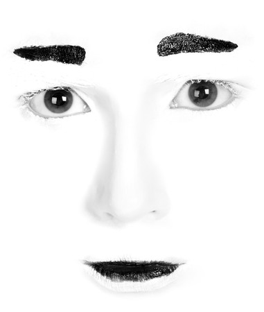 isoalated: Isoalated mime face. Close up. Stock Photo