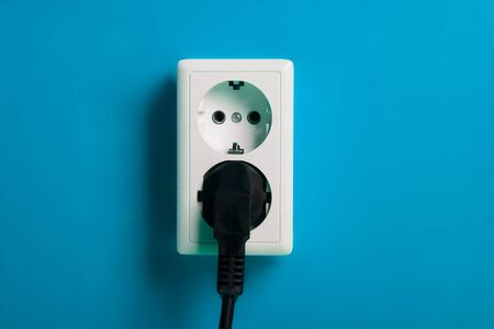 White electric socket on the wall. Close up. Stock Photo - 7775040