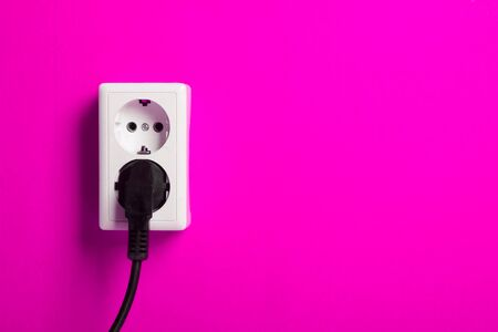White electric socket on the wall. Close up. Stock Photo - 7775004