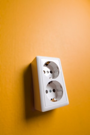 White electric socket on the wall. Close up. Stock Photo - 7775009