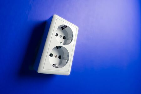 White electric socket on the wall. Close up. Stock Photo - 7775043