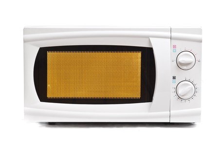 defrost: Microwave oven. Isolated on white. Stock Photo