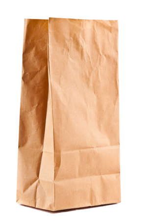 A paper bag. Isolated on white. photo