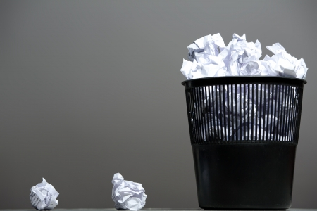 dustbin: Recycle bin filled with crumpled papers Stock Photo