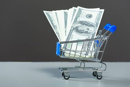 Shopping carts with a dollars. photo