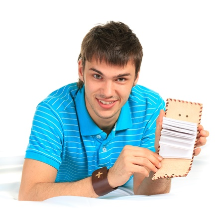 Student and notebook. Stock Photo - 10763251