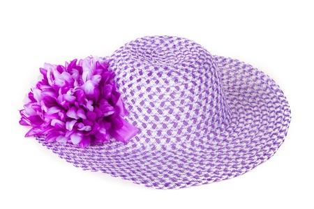 bonnet up: Women purple hat with a flower. Stock Photo