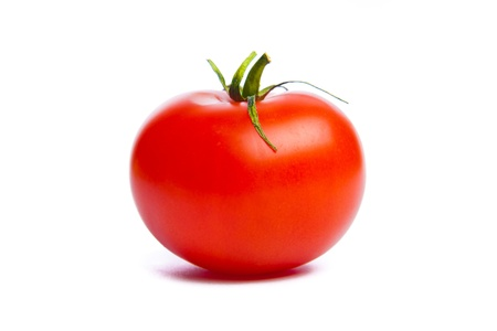 fresh ripe tomato isolated on white background photo