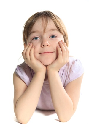 Portrait of a child on a white background. photo