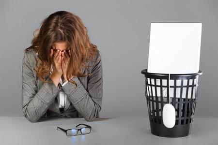 Crying businesswoman. Stock Photo
