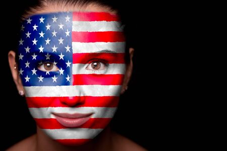 Portrait of a woman with the flag of the USA Stock Photo