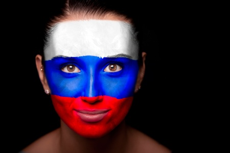 russian girls: Portrait of a woman with the flag of the Russia Stock Photo