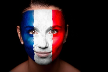 french culture: Portrait of a woman with the flag of the France